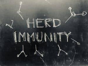 Herd Immunity handwritten on Blackboard