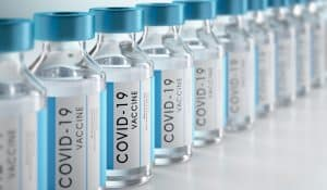 Close-up of bottles of COVID-19 vaccine